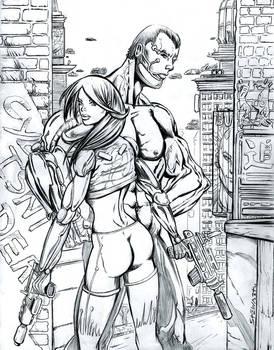 Cyberpunk Couple with City