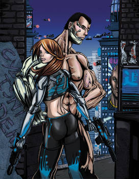Cyberpunk Couple with City - Colors