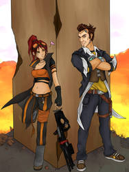 Handsome Jack and Ratchet