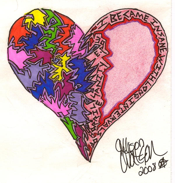 Shattered Heart Drawings Broken heart scraps tattoo