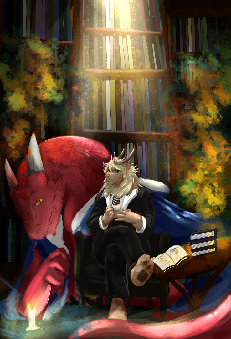 Library's dragon by fd-caro