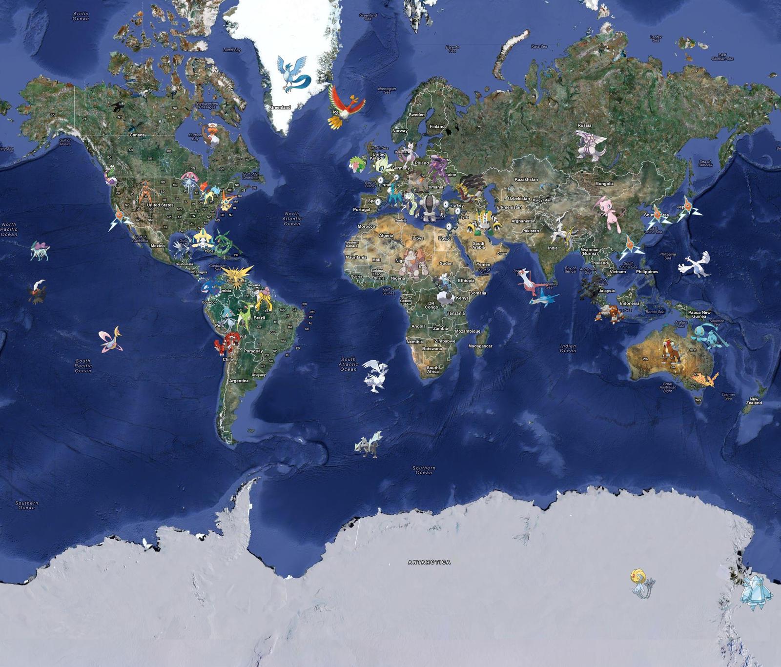 Legendary Pokemon Of The World Full Map By LDA On DeviantArt - Full world map
