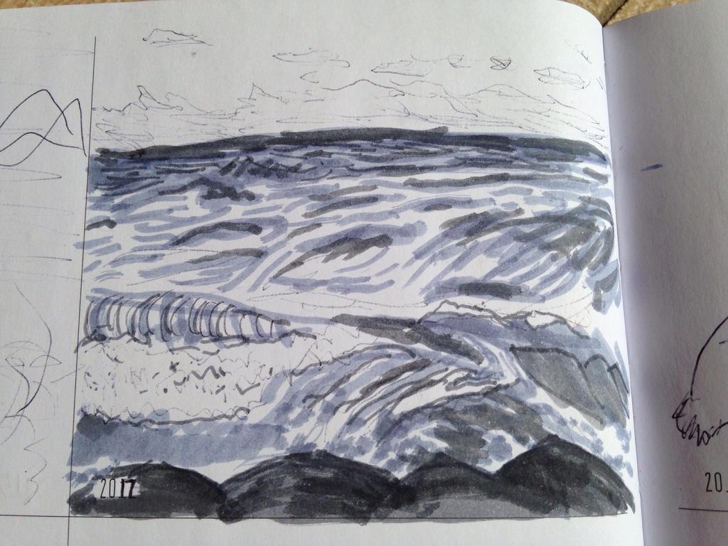 May 29th: Ocean waves sketch by PandaKong