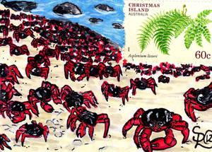 Christmas Island Crabs Stamp Card