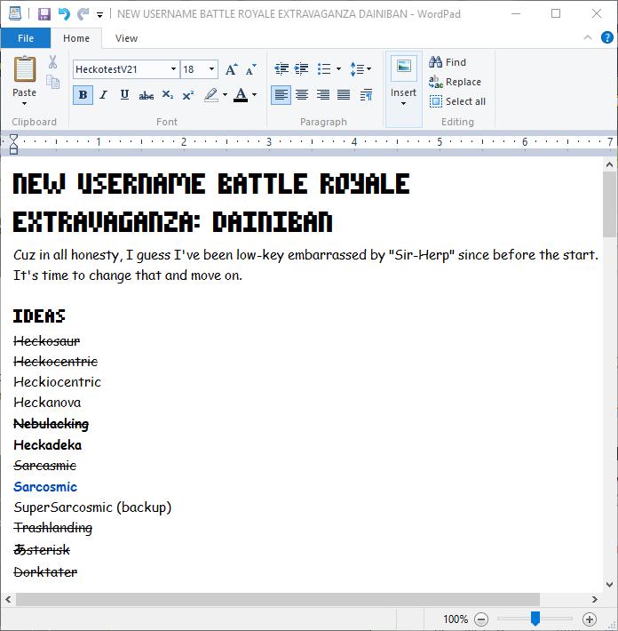 New Username Battle Royale Extravaganza Dainiban by SuperSarcosmic