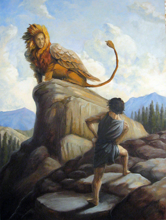Oedipus And The Sphinx Painting