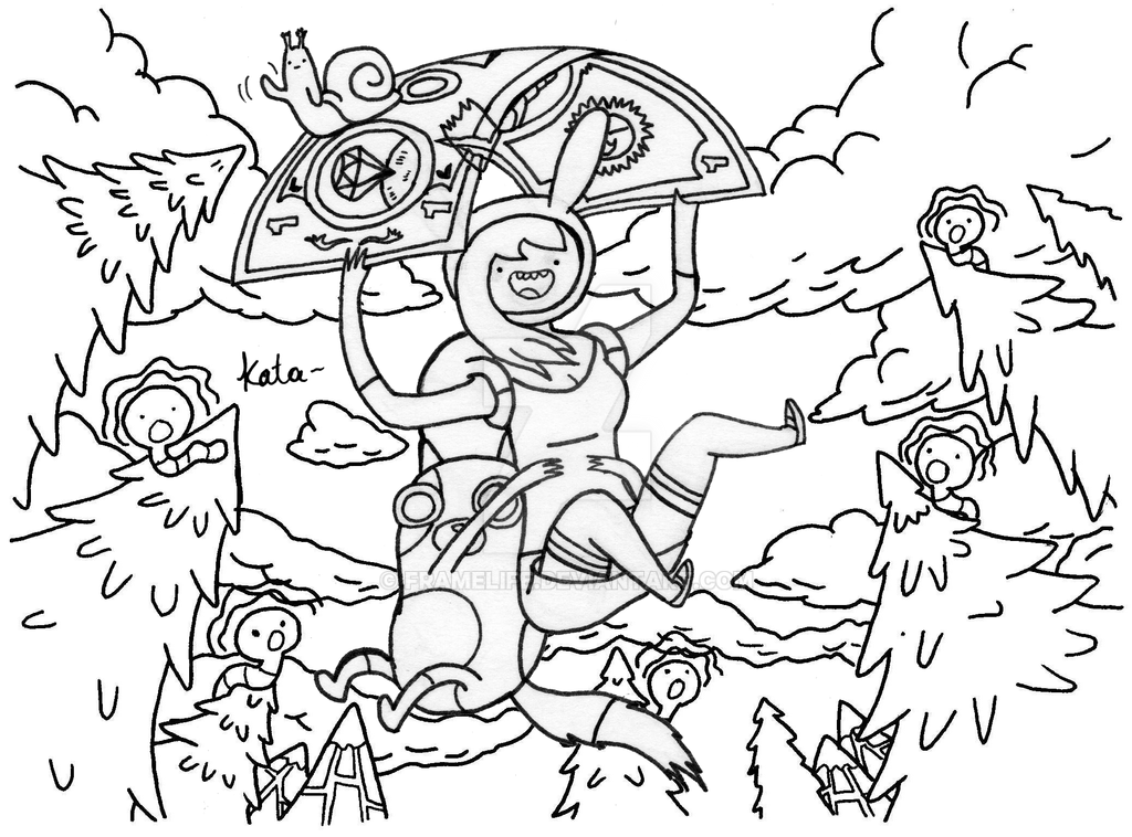 Adventure time with Fionna and the cake lineart by FrameLife on