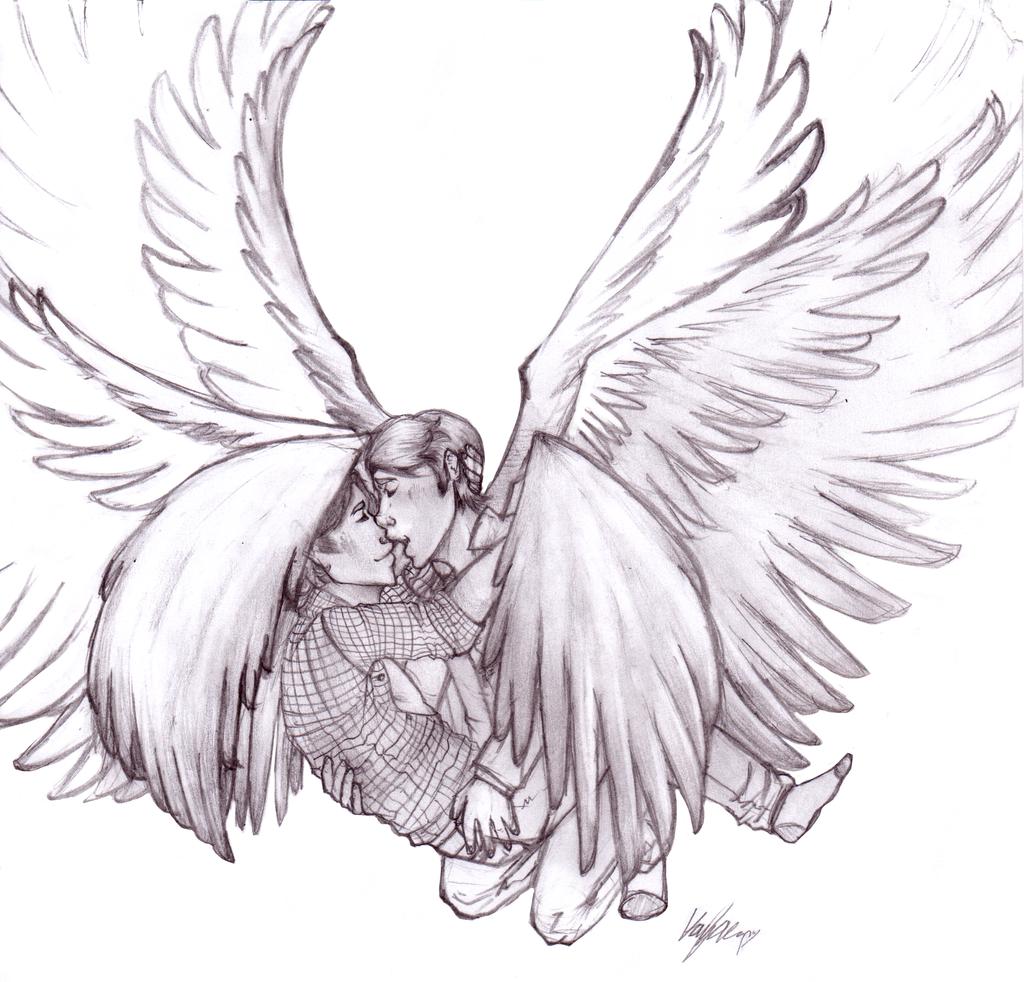 Картинки ангела с крыльями для срисовки, рисунки
