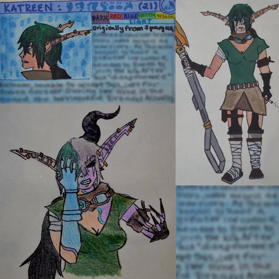Katreen: ROUGH Character Sheet By Patterns-at-dusk On