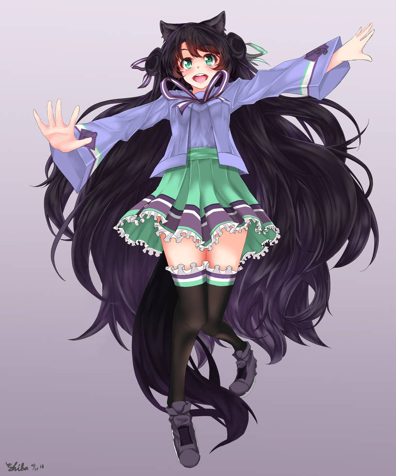 Black Haired Fox Girl By Shibazakie On Deviantart