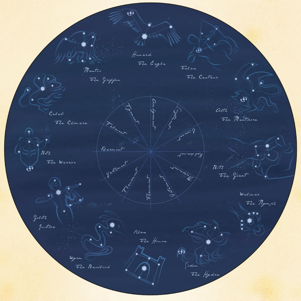 Mystara Zodiac Constellation Map by StirvinoLady