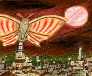 Big A#s Moth Over Lego City by FermentingDreg