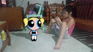 Bubbles meets my sister, Ianah