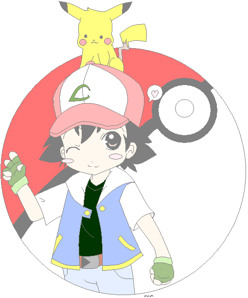 MSPAINTINGS: ash and pikachu by Akayuki101