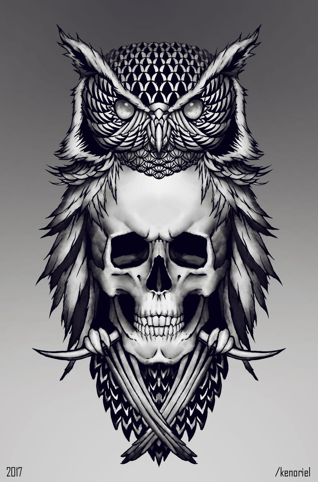 tattoo Owl skull by Kenoriel on DeviantArt - photo#1