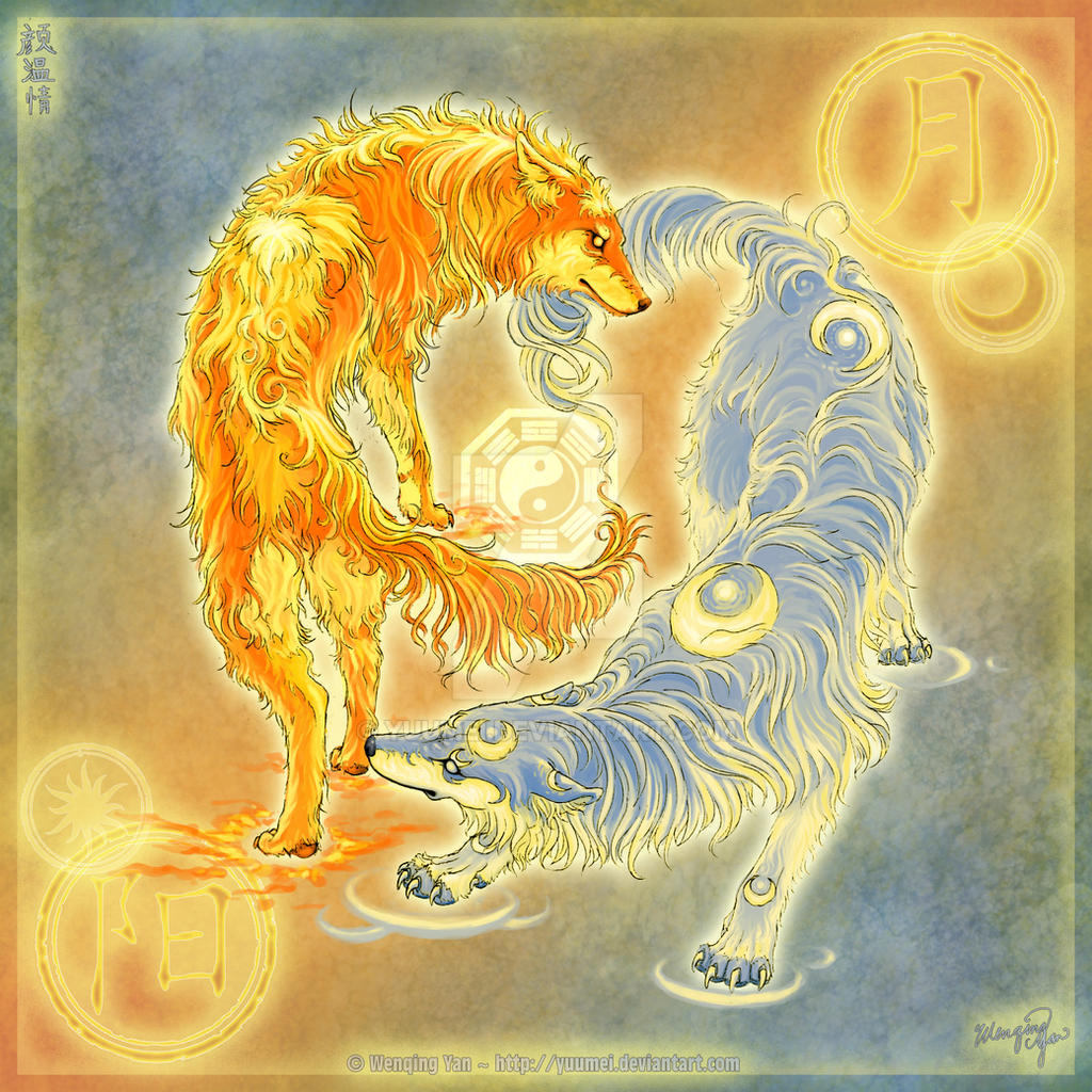 Wolves of Moon and Sun by yuumei on DeviantArt