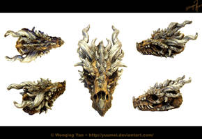 Dragon Skull Sculpture by yuumei
