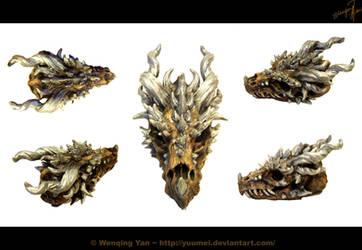 Dragon Skull Sculpture by yuumei