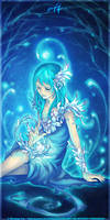 Lady of Blue Chrysanthemums