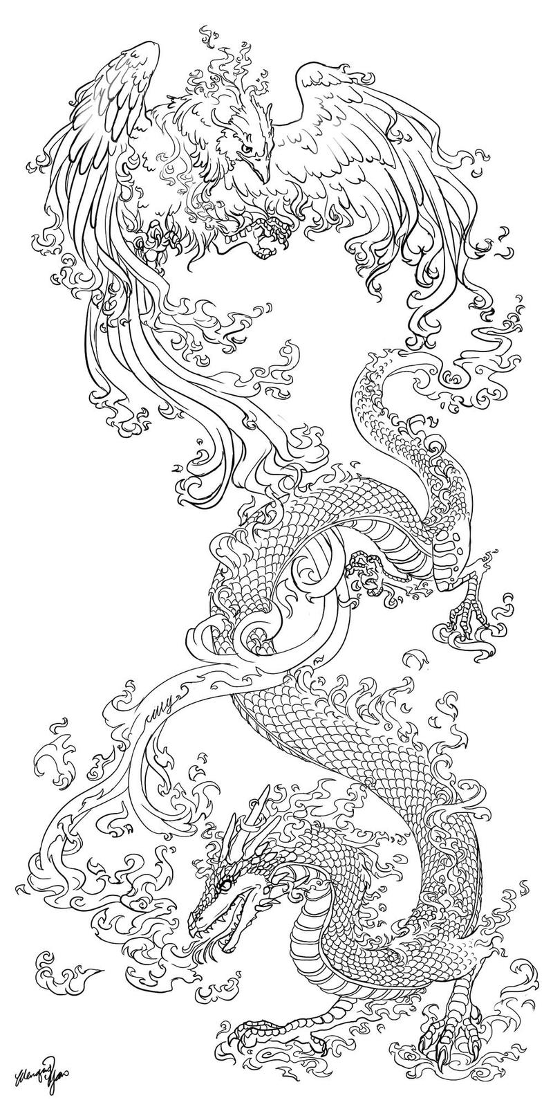 DragonPhoenix tattooCommission
