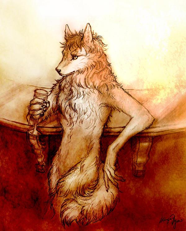 Wolf Anthro Barkeep Commission