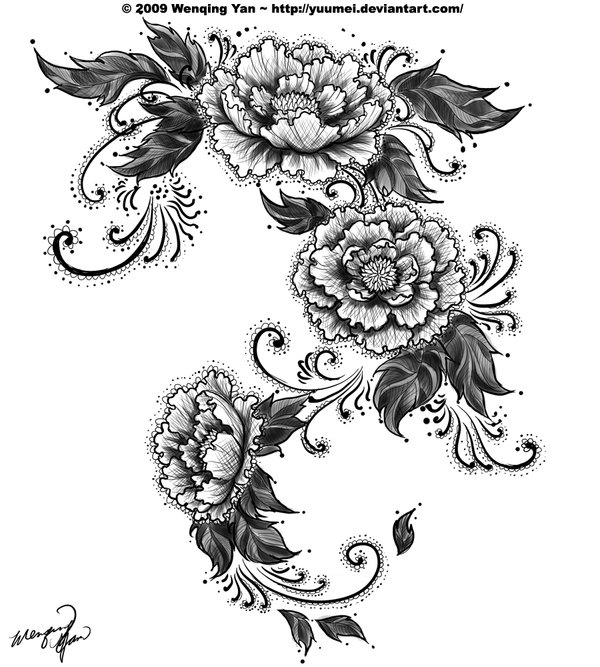 Lace Peonies Tattoo commission by yuumei on deviantART