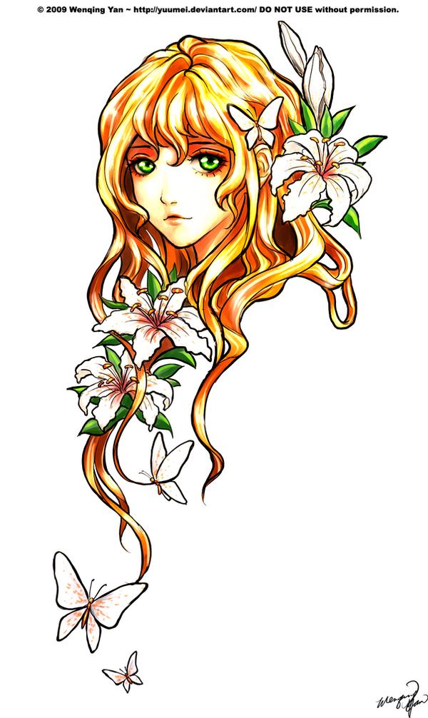 [Ficha de Personaje] Kori Hanabusa.  White_Tiger_Lily_Commission_by_yuumei