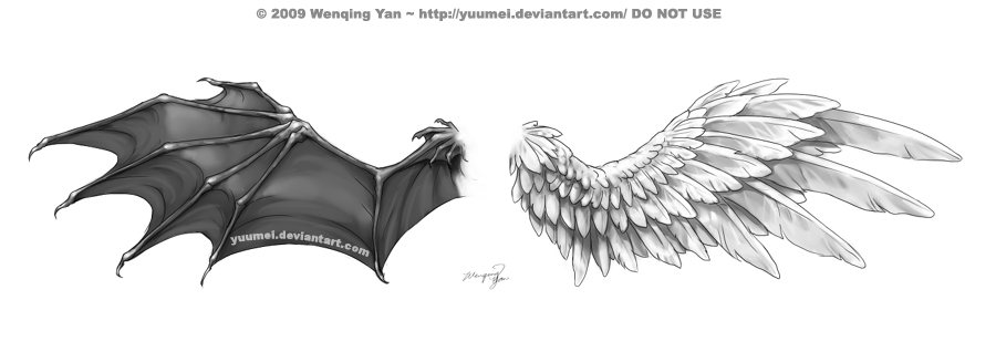 wings tattoo commission by yuumei on deviantart rh yuumei deviantart com devil wing tattoos on back devil wing tatoo