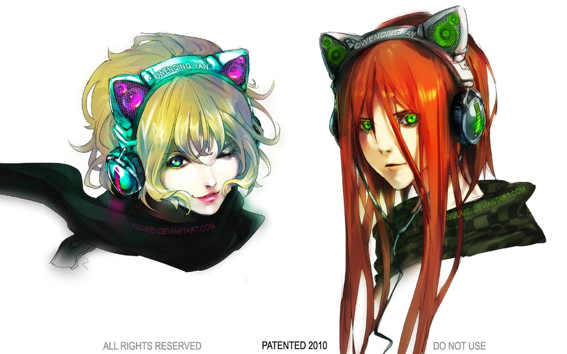 Cat Ear Headphones by yuumei