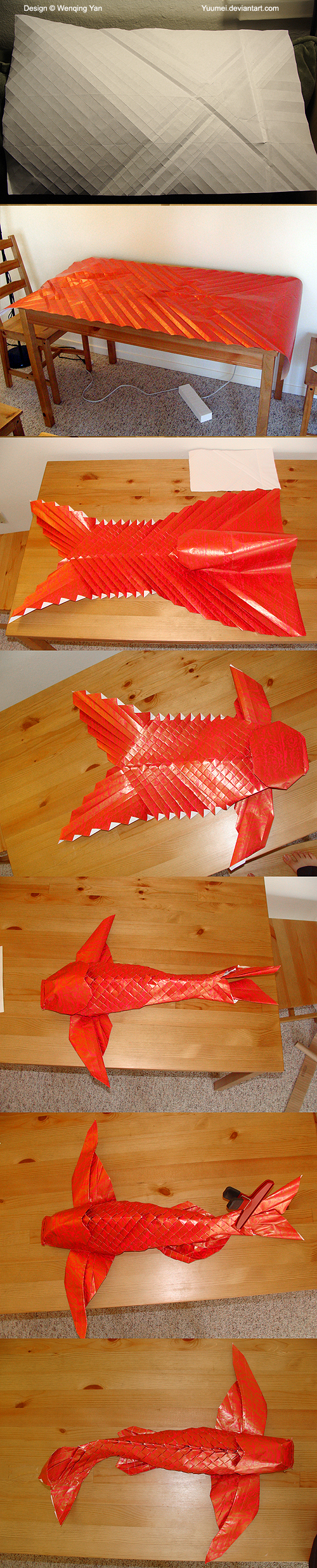 Origami winged koi process by yuumei on deviantart for Origami koi fish