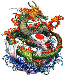 Dragon and Koi Commssion