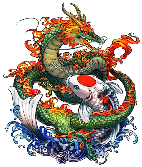Dragon and koi commssion by yuumei on deviantart for Koi dragon meaning