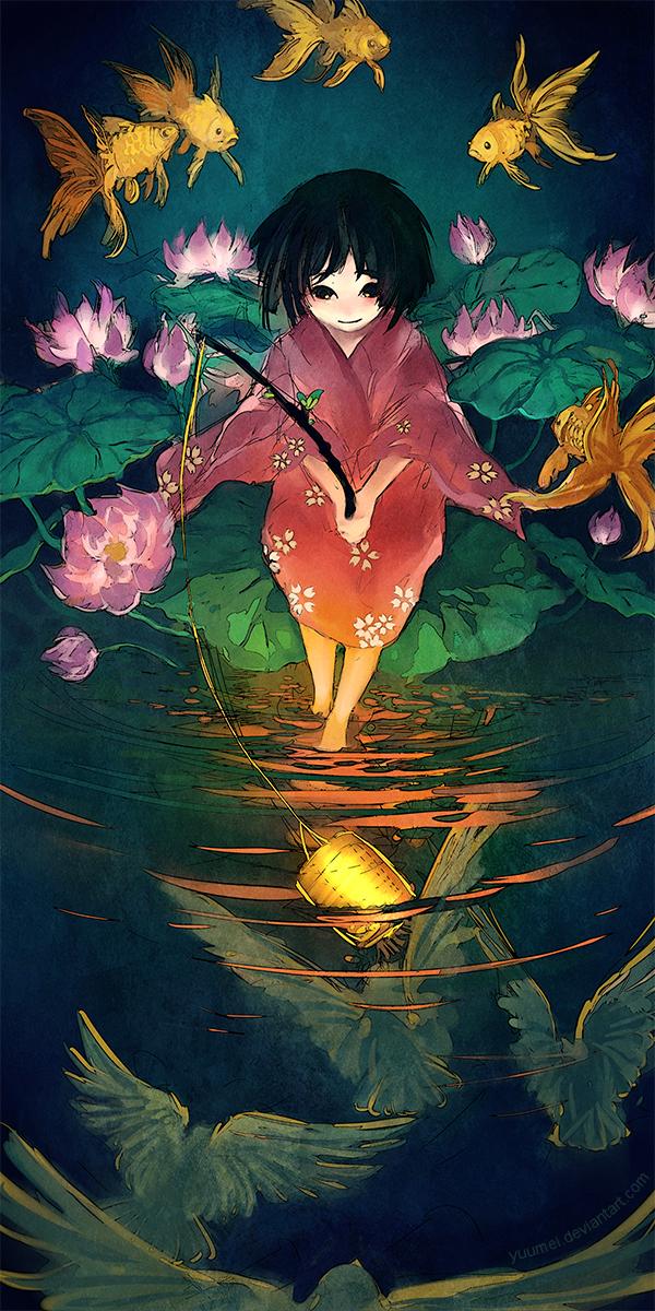 Fishing Birds by yuumei