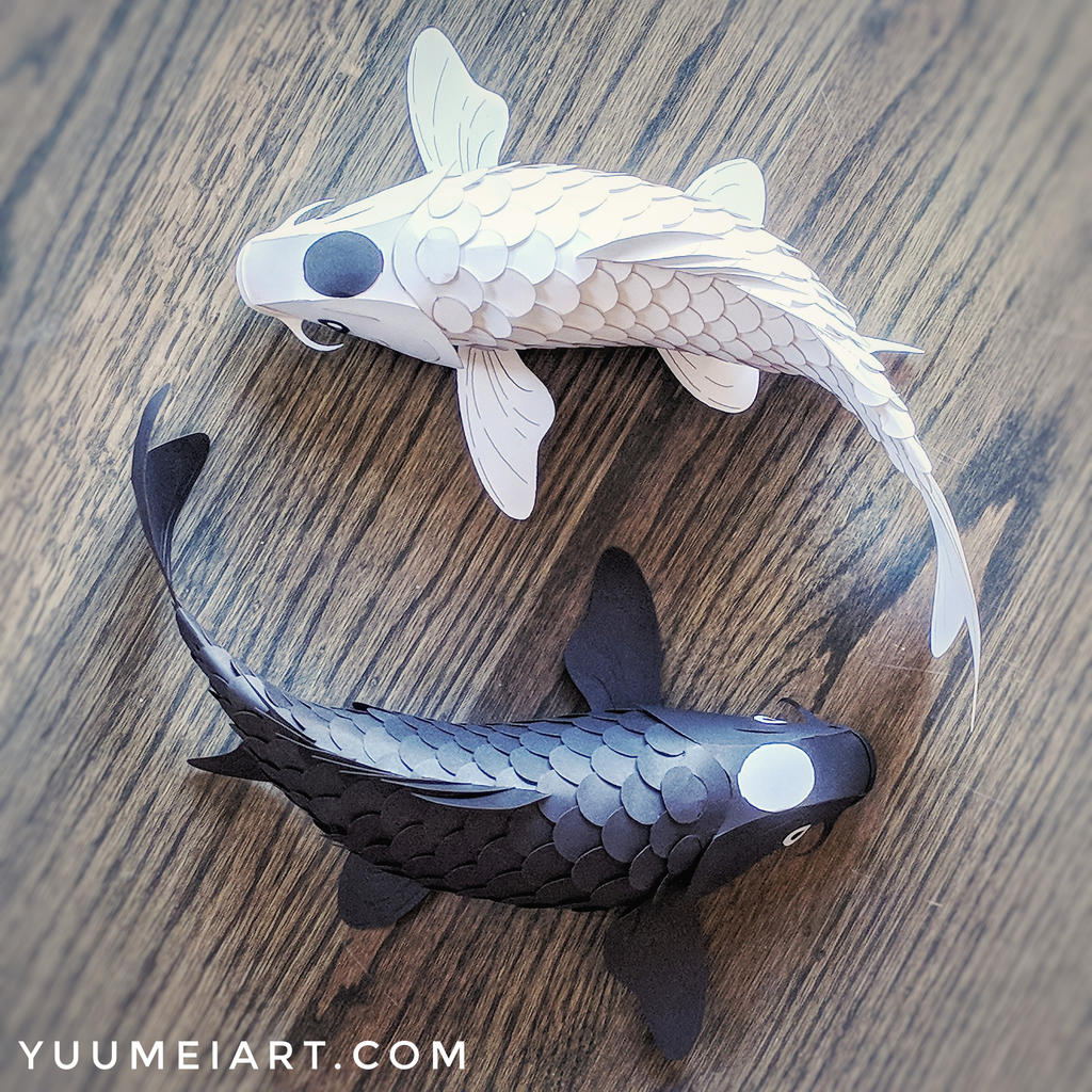 Yin Yang Paper Koi Sculpture by yuumei