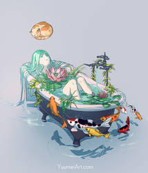 Bathe in Green by yuumei