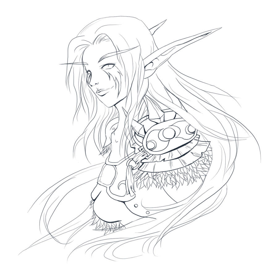 Wow Blood Elf Face Coloring Pages