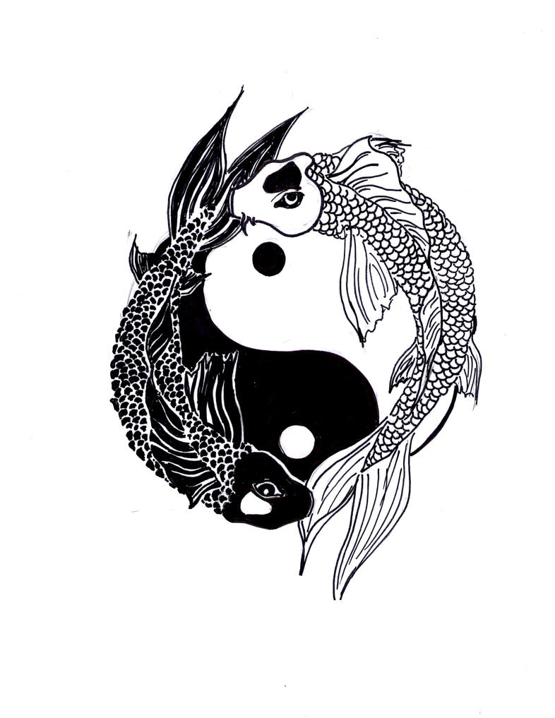 Yin and yang koi by ali san13 on deviantart for Koi fish yin yang