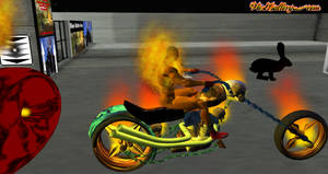 Real Ghost Rider on FIRE Second Life