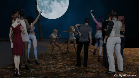A Crowd Pleasing Catfight under a Full Moon by westcat