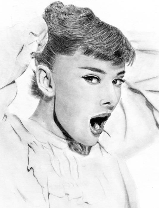Audrey Hepburn drawing by Cast-al-ia