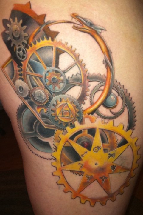 Steampunk Alchemy Finished Tattoo by sevyntnein