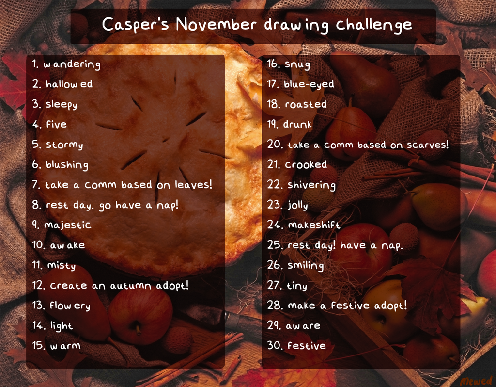It is a picture of Comprehensive November Drawing Challenge