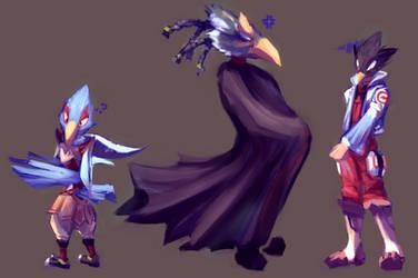XLVIII || Falco, Revali and Teriyaki clothes swap by RawayjuDraws