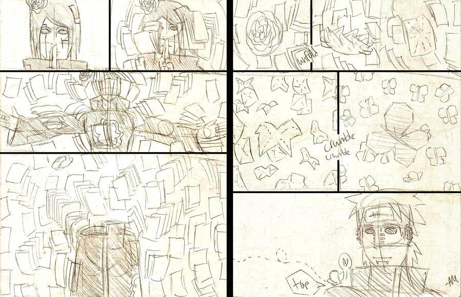 Konan's Paper Jutsu Sketch by TheALMs