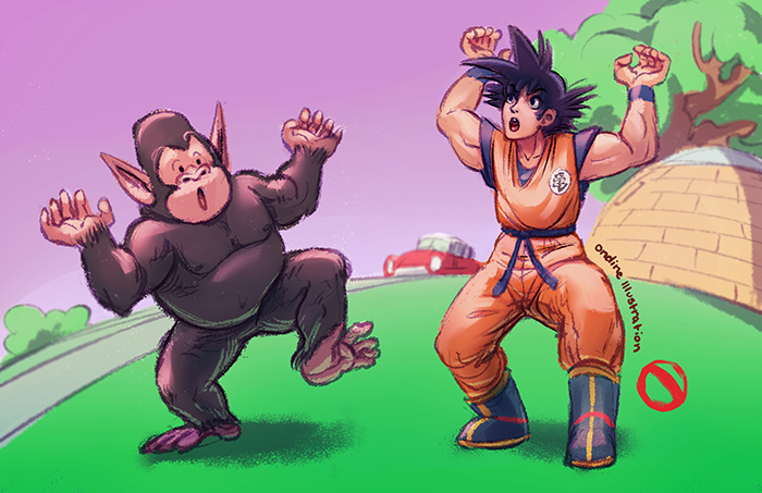 goku and bubbles by lilyondine on deviantart
