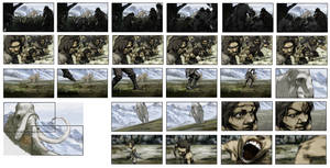 Colored storyboard work