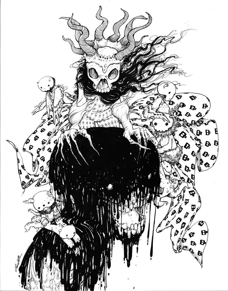 Witch Queen BW Pinup by camilladerrico
