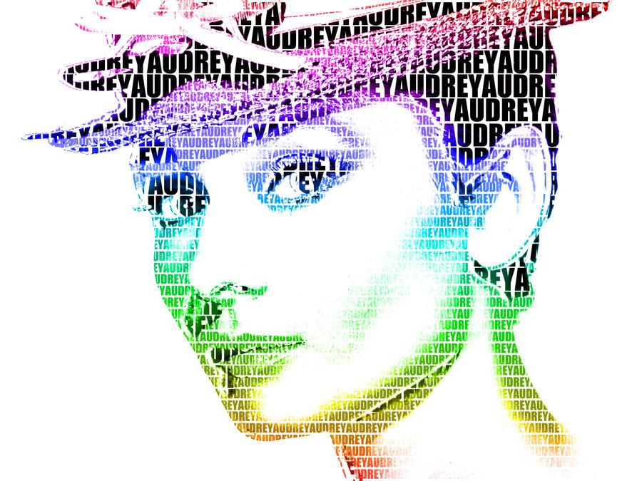Audrey Hepburn Typography Portrait by thedanishcookie
