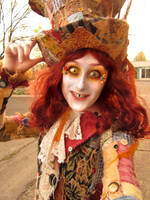 Patchwork Mad Hatter costume closeup by Slaughterose