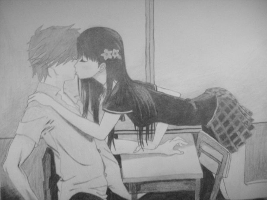 Anime Couple Kissing By Drawings
